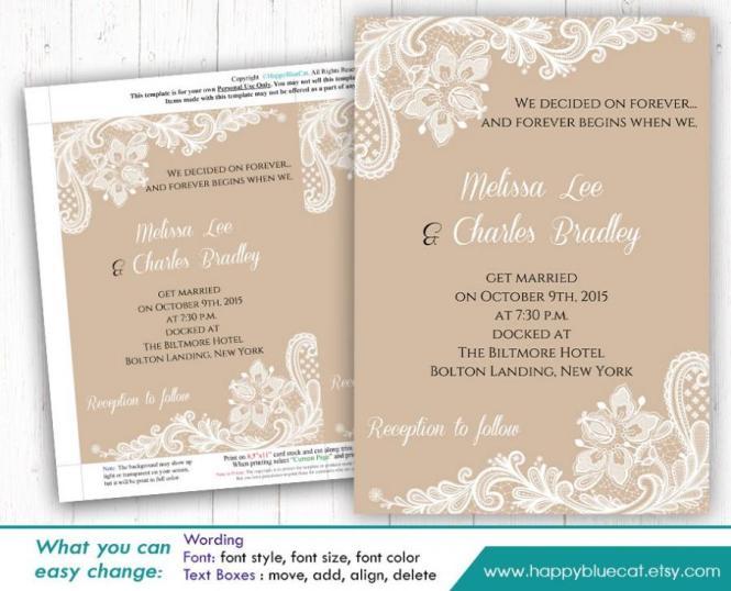 Diy Printable Wedding Invitation Template Instant