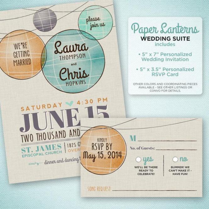 Paper Lantern Mod Wedding Invitation Watercolor
