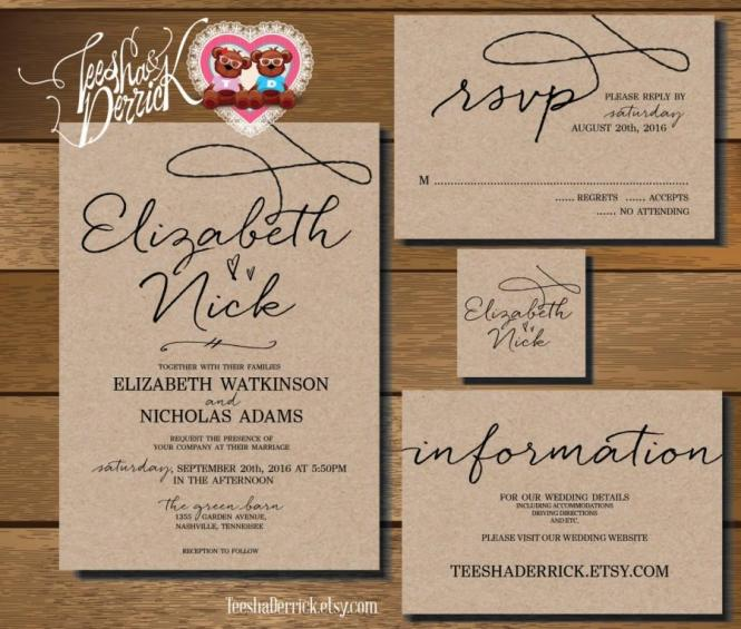 Custom Printable Wedding Invitation Suite W0210 Consists
