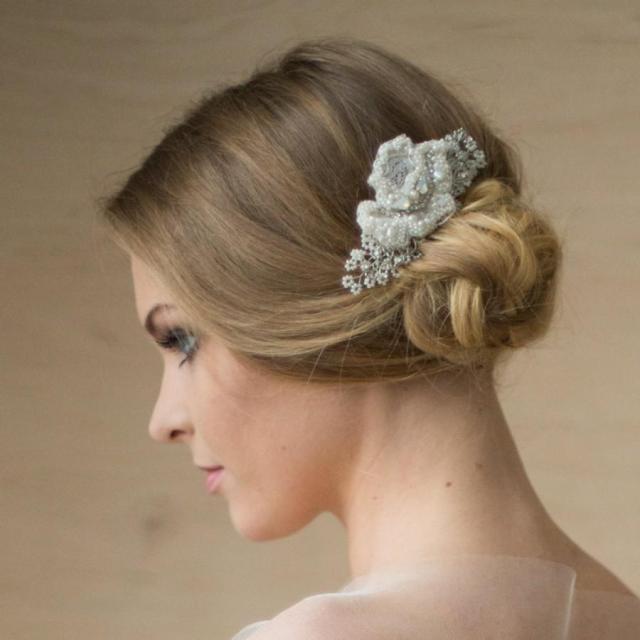 bridal hair piece, lace hair piece, wedding headpiece