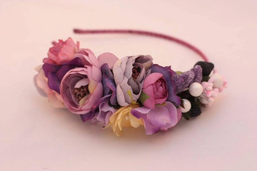 Purple Flower Headband  Flower Crown  Shabby Chic Headband  Hair     Purple flower headband  Flower Crown  Shabby chic headband  Hair Accessories   Handmade Violet Bridal Crown  Purple Headpiece  Three Snails