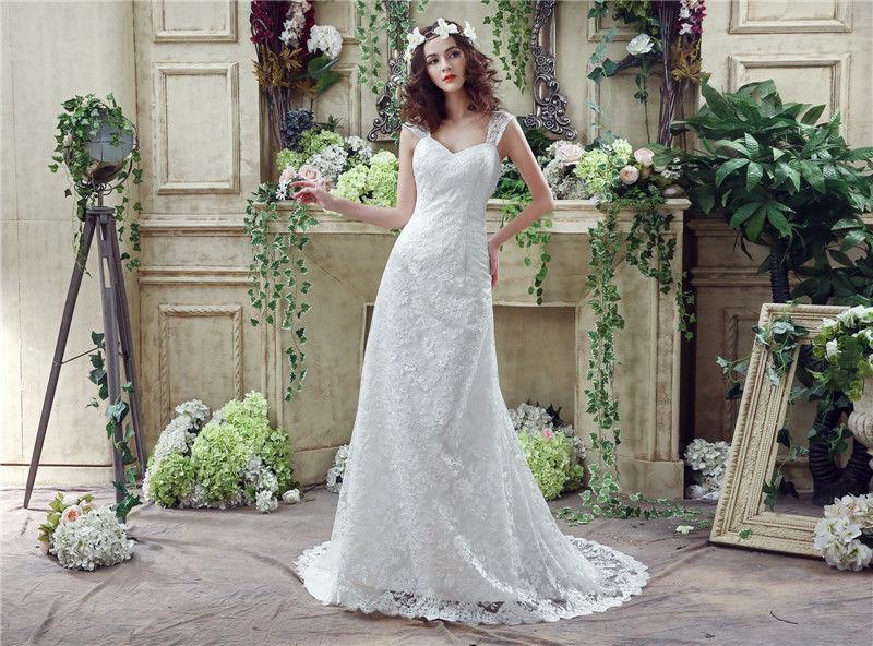New Style White Mermaid Wedding Dresses Cap Sleeve 2016