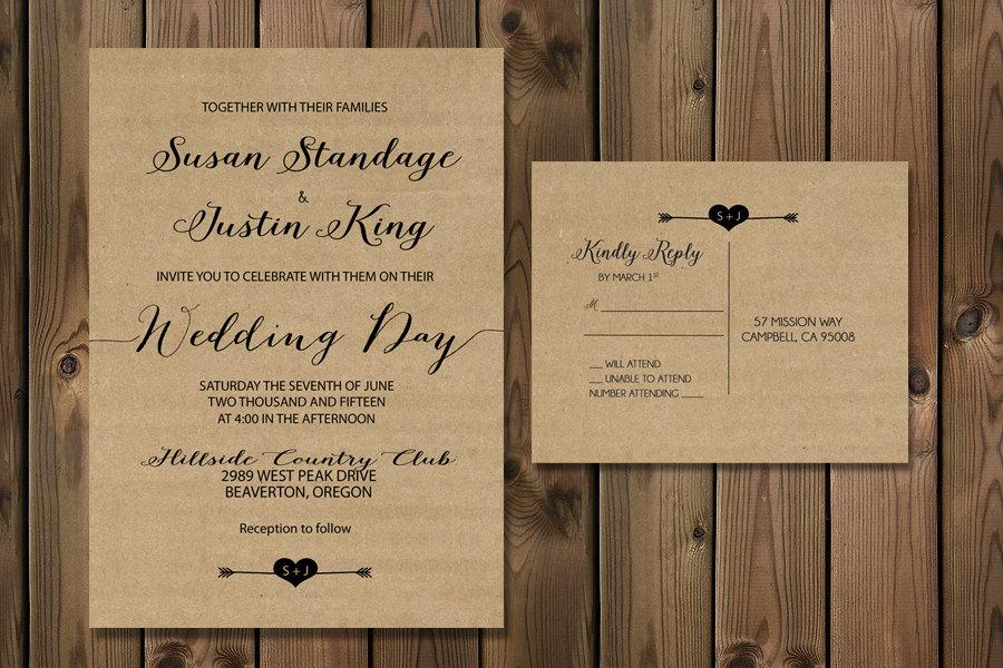 Rustic Wedding Invitations Kraft Paper