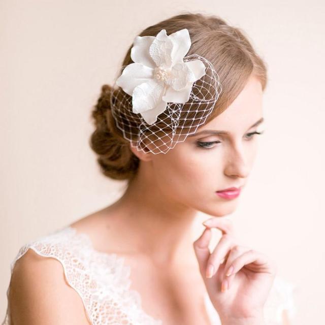 bridal fascinator with magnolia flower - bridal headpiece