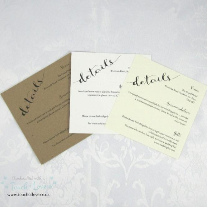 Information Cards For Wedding Invitations – Handmade Rustic Wedding Invitations