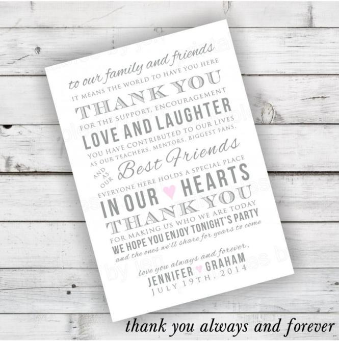 Diy Wedding Reception Thank You Card