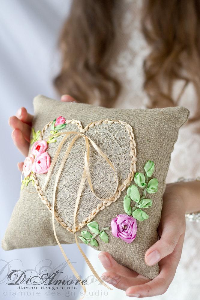 Boho Chik Wedding Ring Pillow Rustic Burlap Bearer Pillow