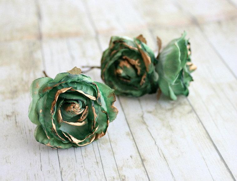 emerald and gold rose flower hair pins weddings bridesmaids floral hair accessories green rose emerald flower hair clip fall autumn