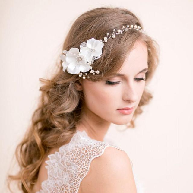 wedding hair vine with blossoms - floral pearl vine - hair