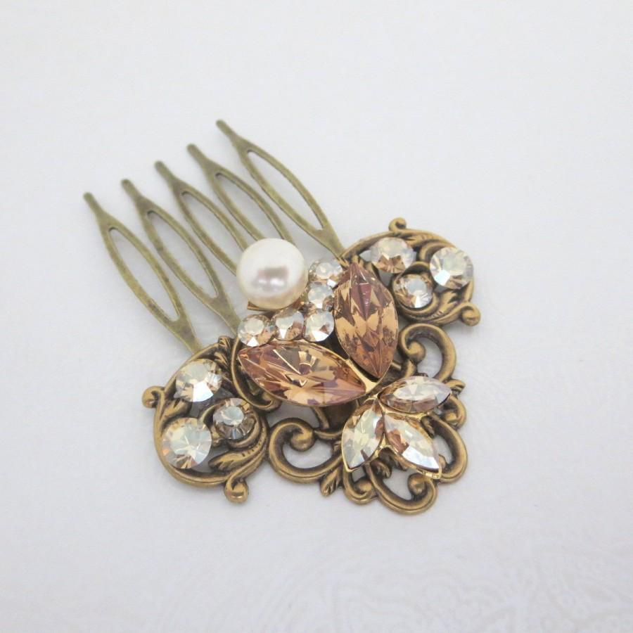Antique Brass Hair Comb Bridal Hair Comb Wedding