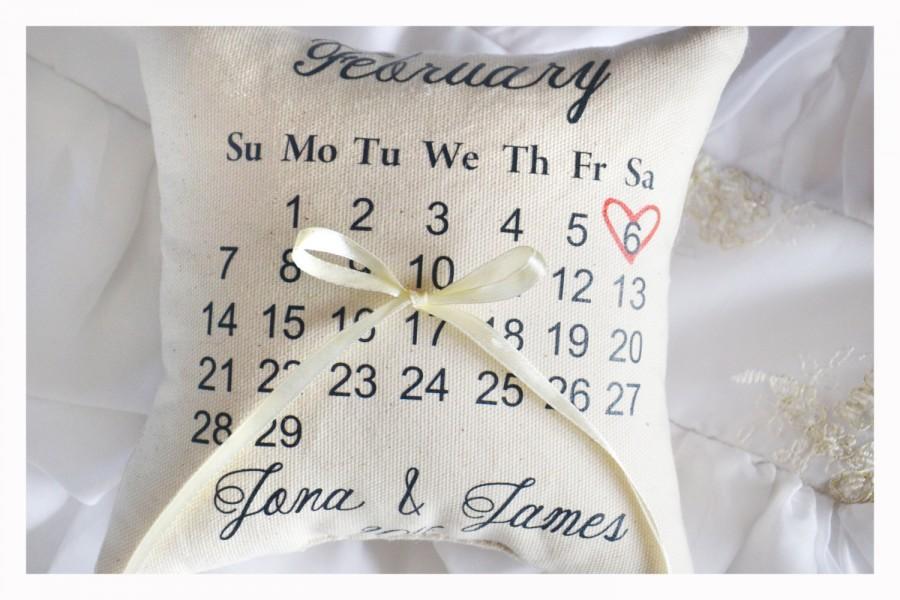 calendar ring bearer pillow personalized wedding pillow calendar wedding ring pillow personalized ring pillow save the date pillow r6 2492579 weddbook