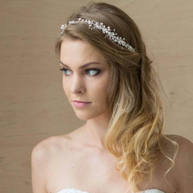 bridal hair vine, bridal headband, pearl headband, wedding