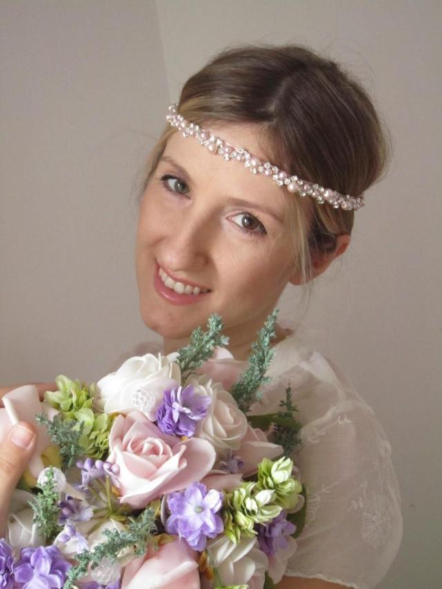 soft pink pearl and rhinestones wedding headband/, pink