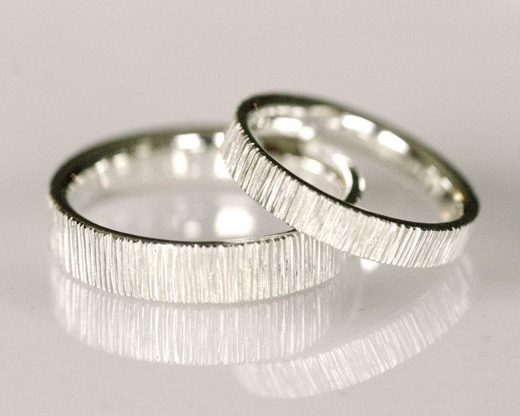 Modern Wedding Band Set Line Pattern Wedding Band 14k