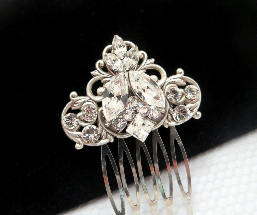 antique silver hair comb bridal hair comb wedding headpiece simple hair comb rhinestone hair comb hair clip swarovski crystal comb