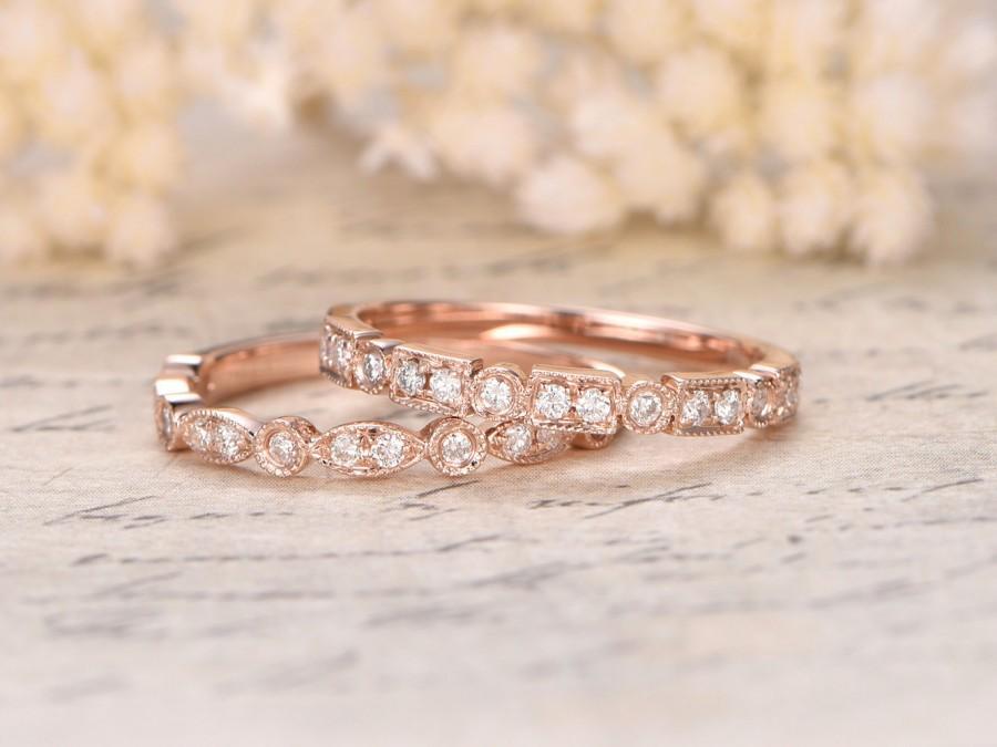 Art Deco Rose Gold Wedding Band