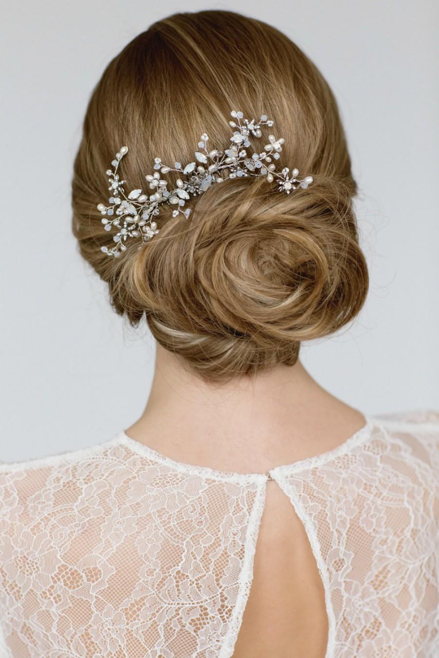 wedding hair accessories bridal hairpiece crystal pearl hair piece large hair comb bridal headpiece white opal bridal hair accessory