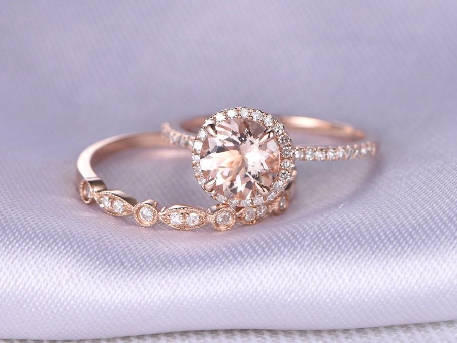 2pcs Wedding Ring Set Morganite Engagement Ring 14k Rose Gold Art Deco Diamond Matching Band 7mm