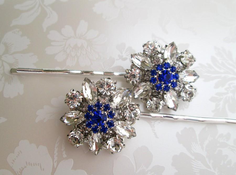 wedding hair pins blue bobby pins something blue hair accessory blue hair clips royal blue sapphire blue navy blue