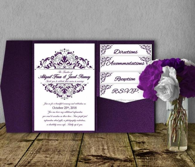 Silver Purple Wedding Invitation