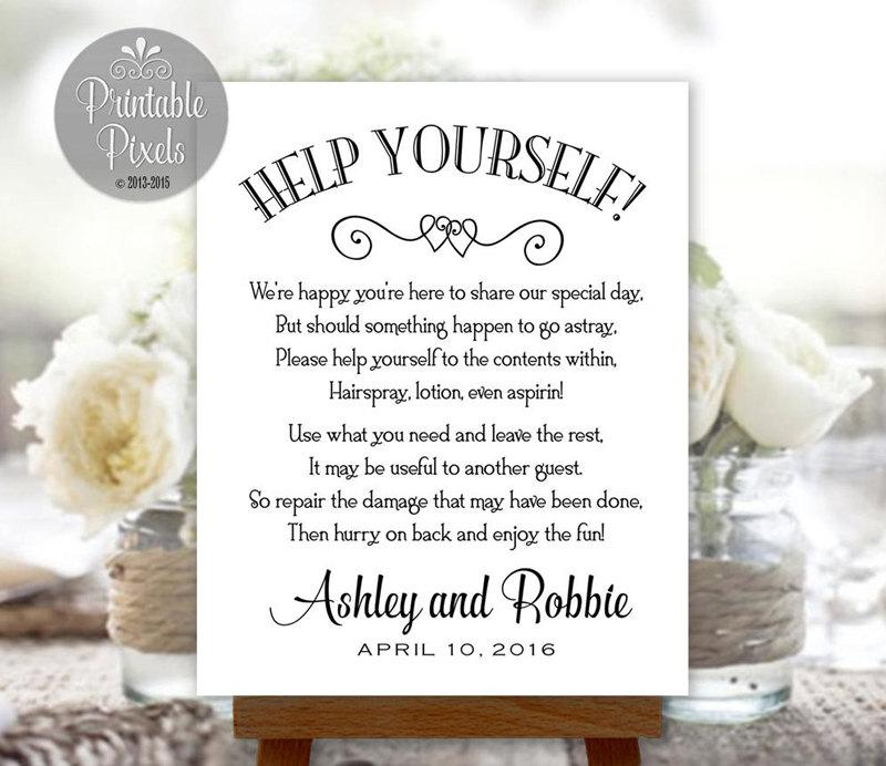Bathroom Basket Sign Printable Wedding Restroom Toiletries