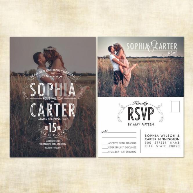 Sample Photo Wedding Invitation Rsvp Postcard 2507392