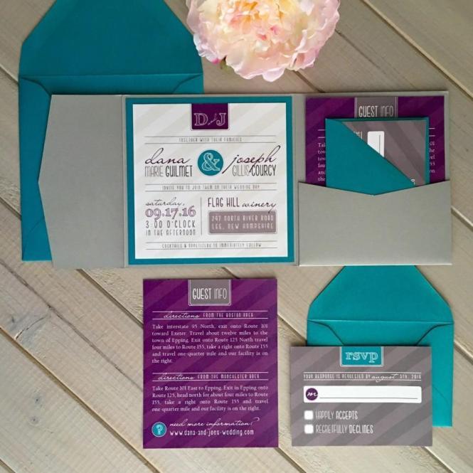 Modern Wedding Invitations Purple And