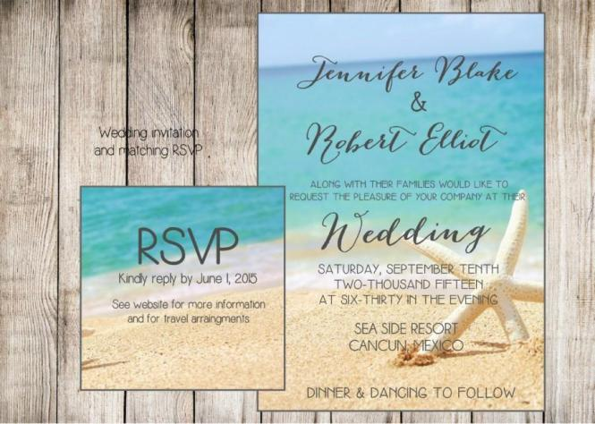 Beach Wedding Invitation Starfish And