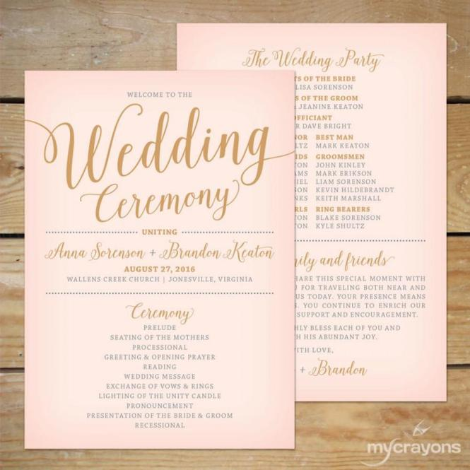 Blush Pink And Gold Wedding Program Fan