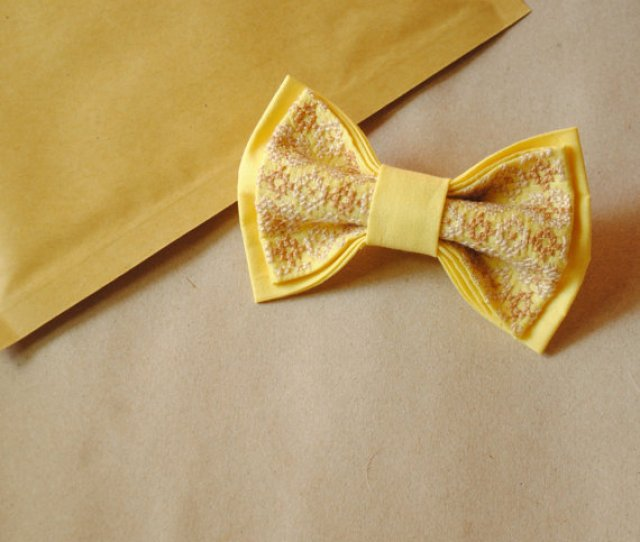 Yellowbo Wedding Bow Tie Yellow Bow Tie Papillon Jaune Womens Neckties Thanksgiving Gift Ideas Xmass Photography Session Ties With Tracery