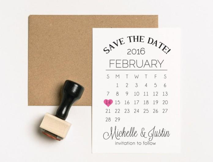 Wedding - Save the Date Stamp Set, TWO Stamps, Wedding Calendar Stamp, Calendar Heart Stamp Set, Wedding Invitation Stamp, Engagement Stamp, (03.005)