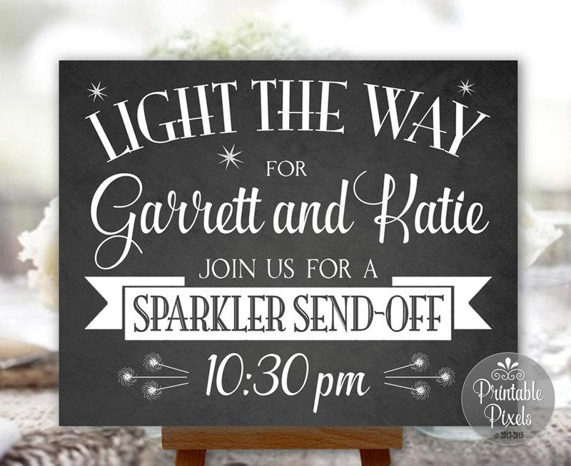Sparkler Send-Off Wedding Sign Chalkboard Printable Personalized with ...