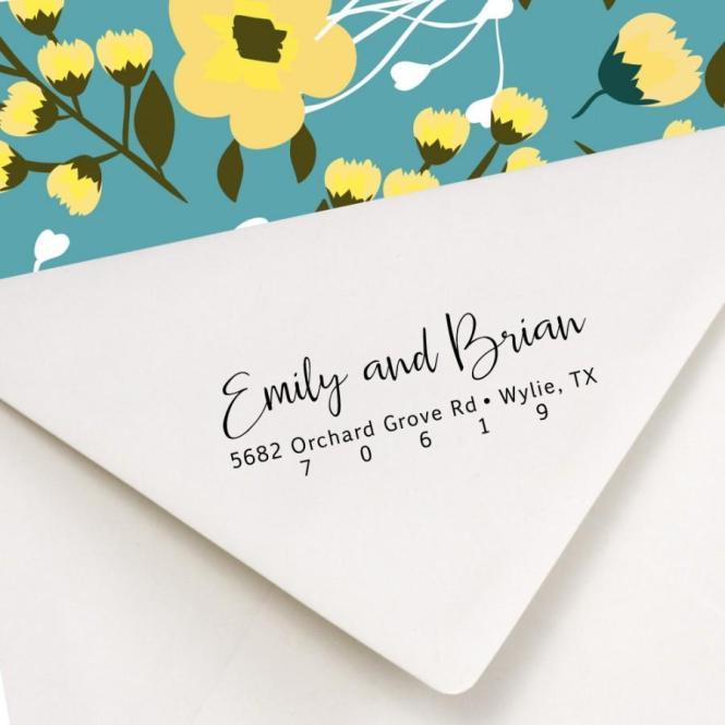 Return Address Stamp Self Inking Wedding Invitation Save The Date Monogram Wreath Crest