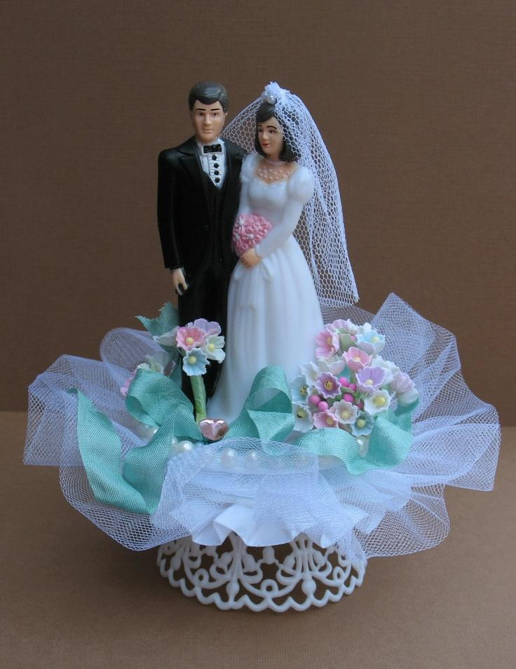 Cake Topper  2   Weddbook Items Similar To Wedding Cake Topper   CLEARANCE SALE Vintage Style Bride  And Groom   Aqua Ribbon On Etsy