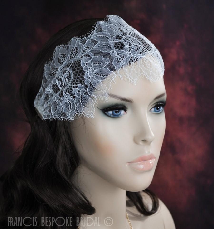 Wedding Headband Hair Wraps White Juliet Cap Hairband Lace
