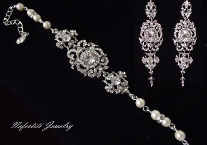 Vintage Style Wedding Jewelry Set Rhinestone Pearl Bridal Chandelier Earrings Bracelet Crystal