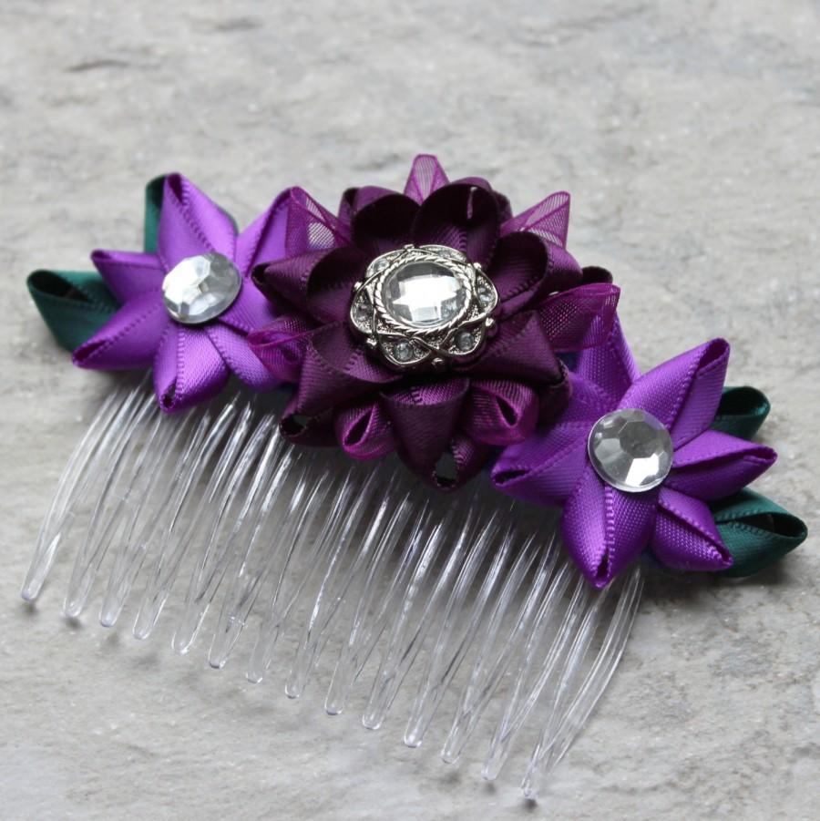 purple hair comb purple flower comb deep purple hair accessories purple bridesmaid hair piece teal and purple wedding hair piece