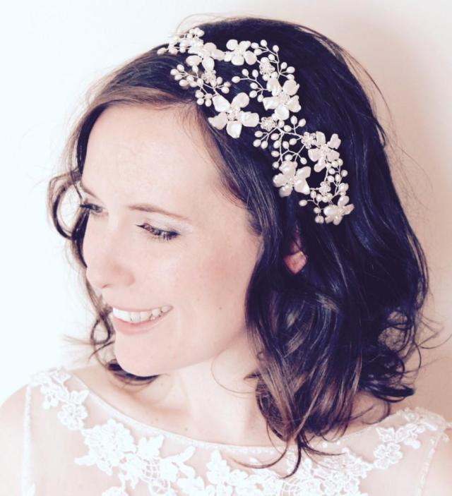 bridal headpiece, floral bridal hair vine, wedding flower
