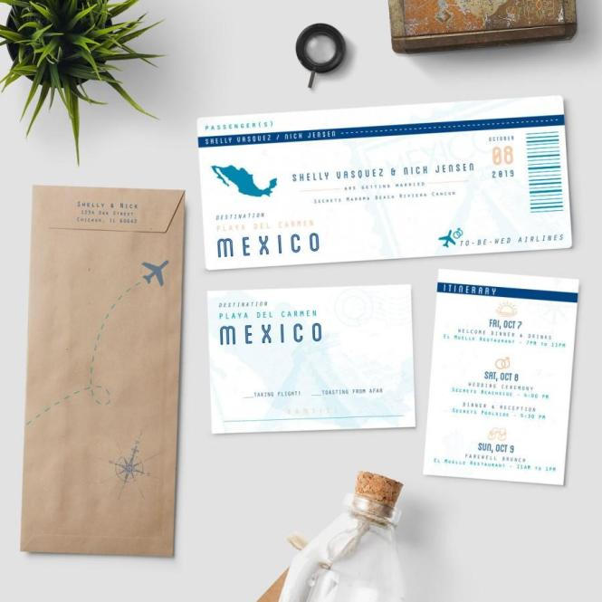Boarding Pass Destination Wedding Invitation Suite To Be