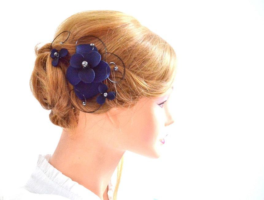 Bridal Hair Comb Floral Headpiece In Navy Bridesmaid
