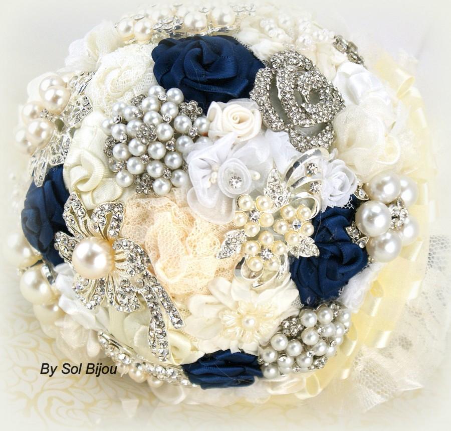 Brooch Bouquet Navy Blue Ivory Cream White Wedding