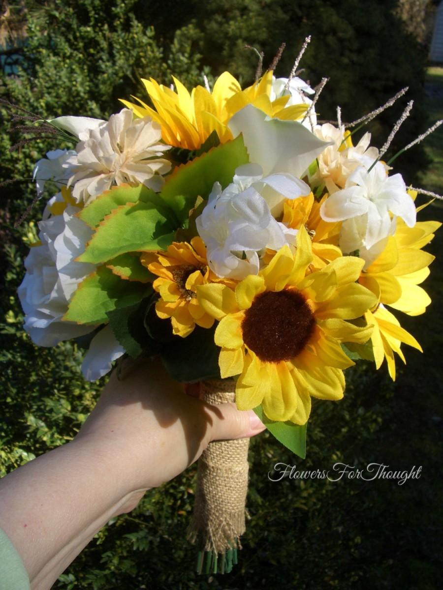 Bride Bouquet Sunflower Wedding Burlap Wrap Sunflower
