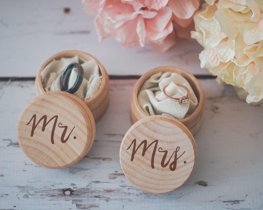 Mr. & Mrs. Ring Box Set, Engraved Wedding Ring Box, Wooden