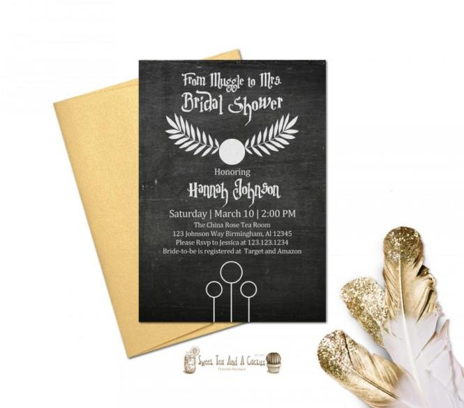 Harry Potter Bridal Shower Wedding Invitation Printable