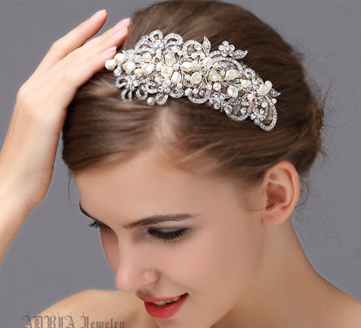 wedding hair accessories bridal headband hairband ivory white pearls vintage rhinestone silver bridal hair band jewelry tiara hb30
