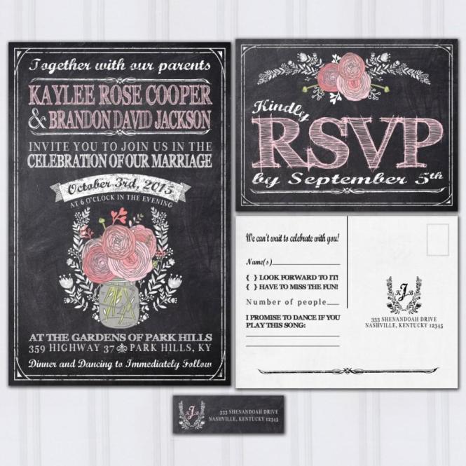 Chalkboard Wedding Invitations Rustic Mason Jar Boho