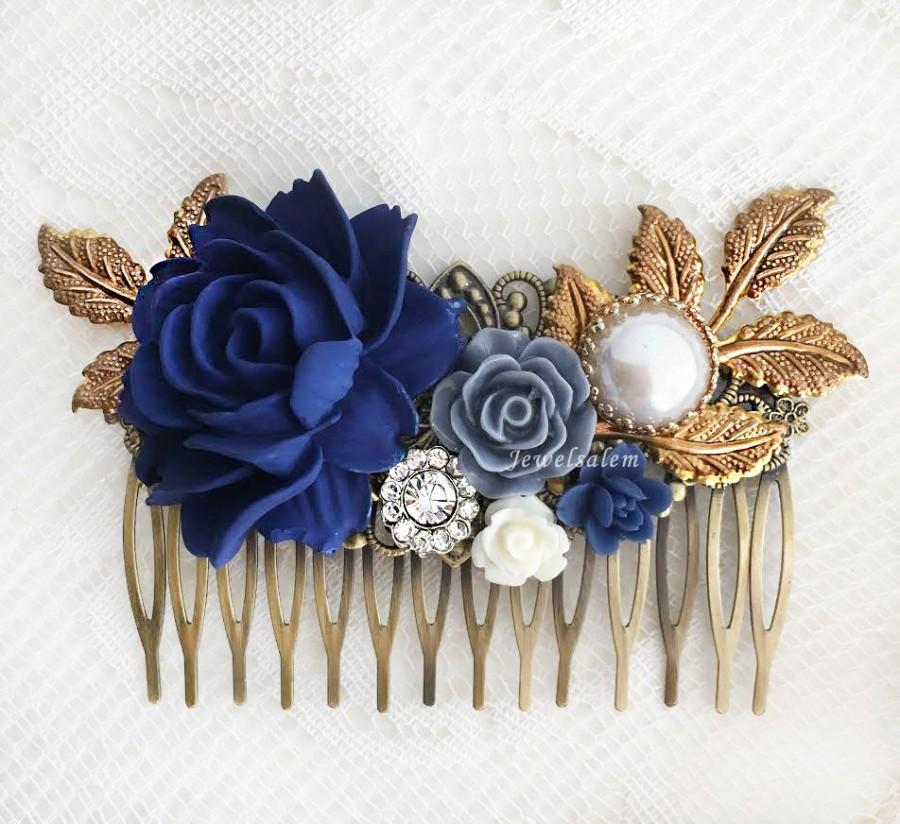 navy blue wedding hair accessories dark blue flower bridal hair comb elegant romantic headpiece rustic hair slide with rhinestone pearl