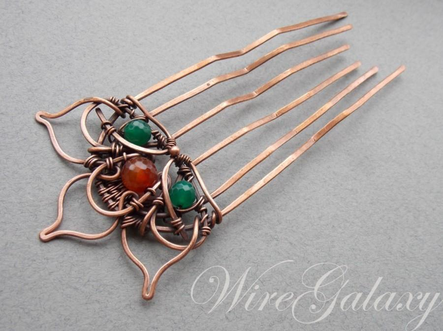Hair Pin Made Of Copper With Carnelian And Chrysoprase