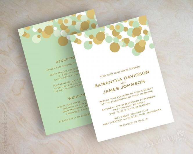 Mint Green And Gold Polka Dot Wedding Invitations