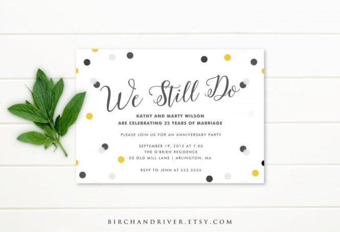 Printable Anniversary Party Invitation 25th